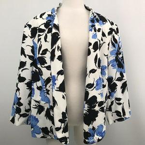 Kasper Floral Blazer White/ Blue Long Sleeve Sz-24